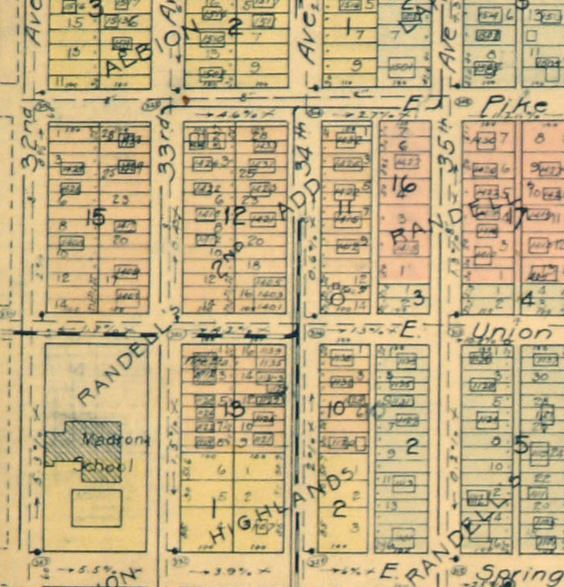 1920 Kroll insurance map showing streetcar service on Union to 34th. (Seattle Municipal Archives)