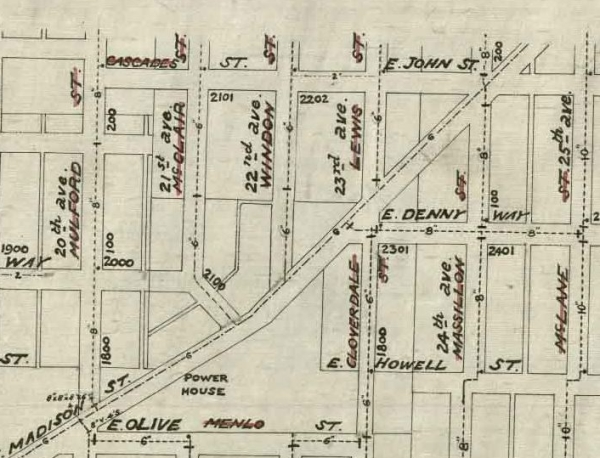 Street renaming shown on a city map. The pipes are from 1899, but the street names are from before and after 1895.