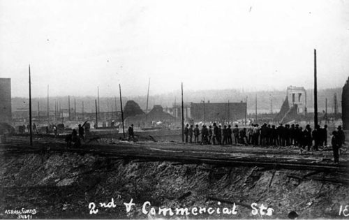 Occidental and Washington from Yesler, June 1889