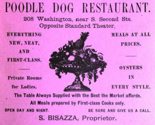 Poodle Dog ad. Polk, 1890