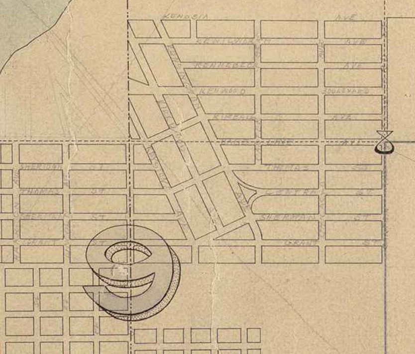 Street names penciled into an old map of Green Lake
