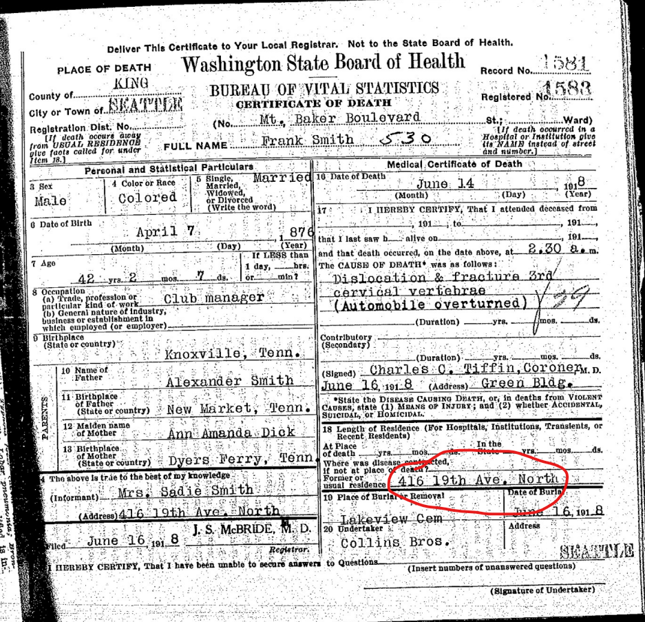 Frank Smith 1918 death certificate showing residence as 416 19th Ave North