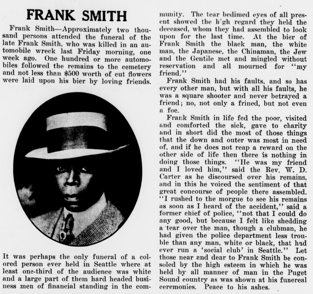 Obituary of Frank Smith from Cayton's Weekly